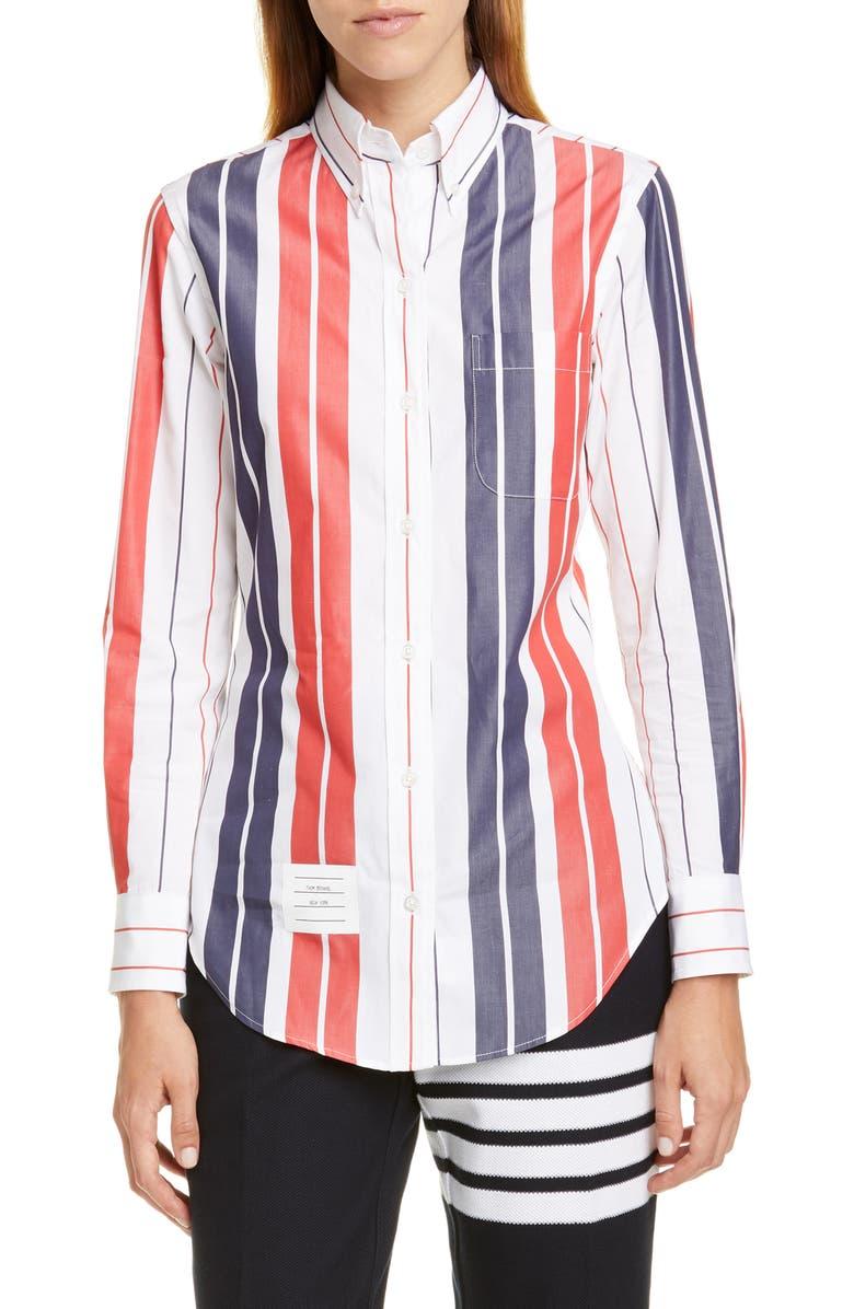 THOM BROWNE Stripe Cotton Shirt, Main, color, RWB WHITE