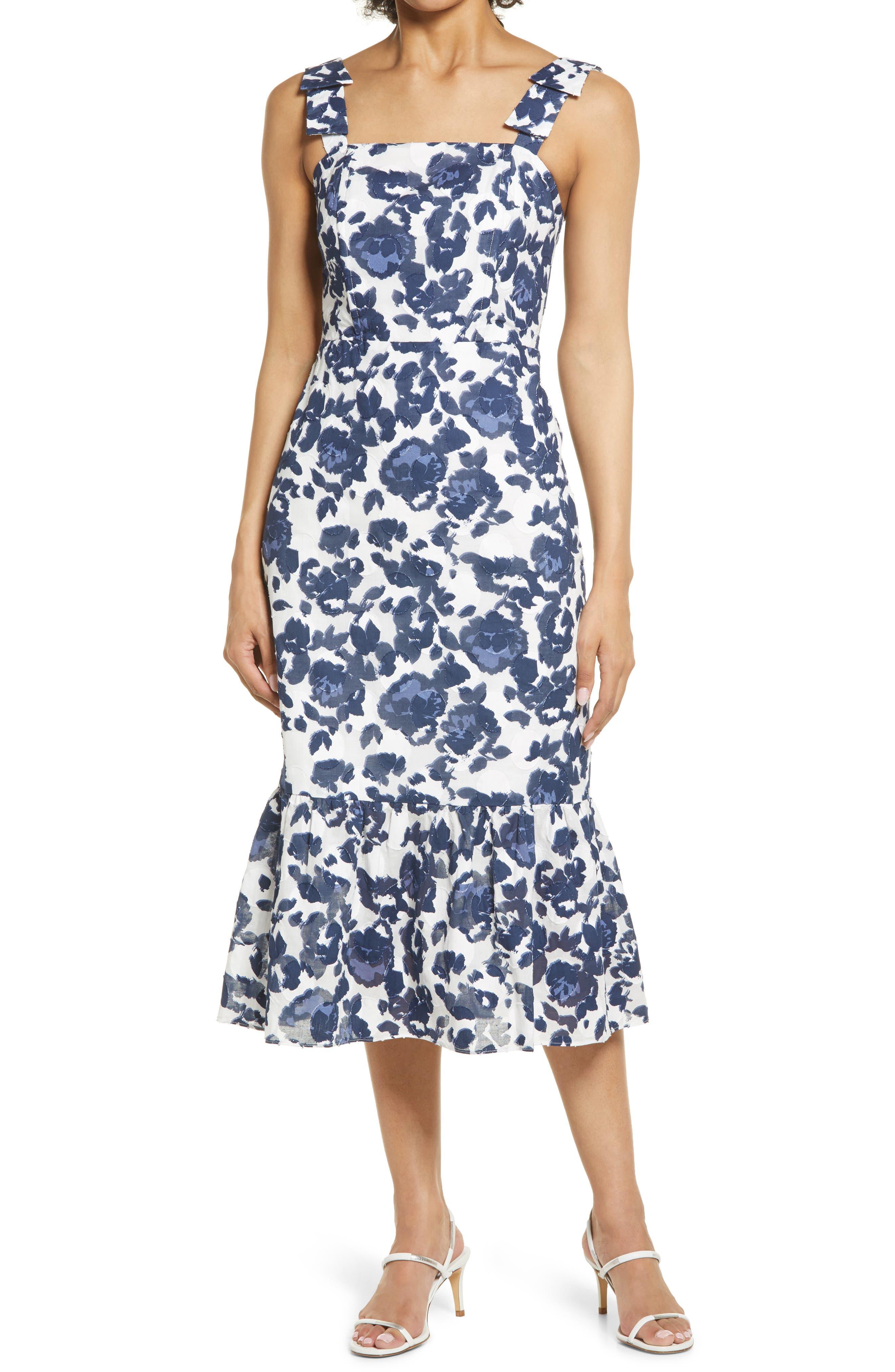 Floral Burnout Cotton Midi Dress