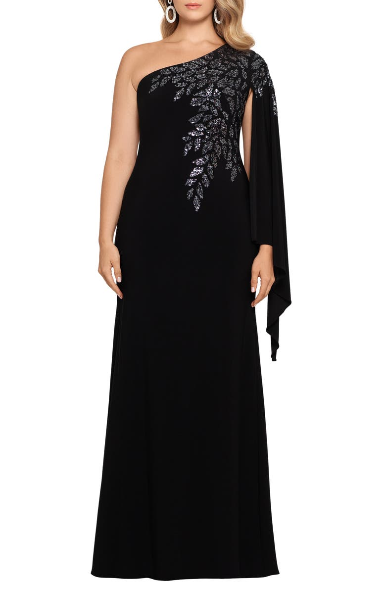 XSCAPE One Shoulder Cape Sleeve Sequin Detail Crepe Gown, Main, color, BLACK/ GUNMETAL