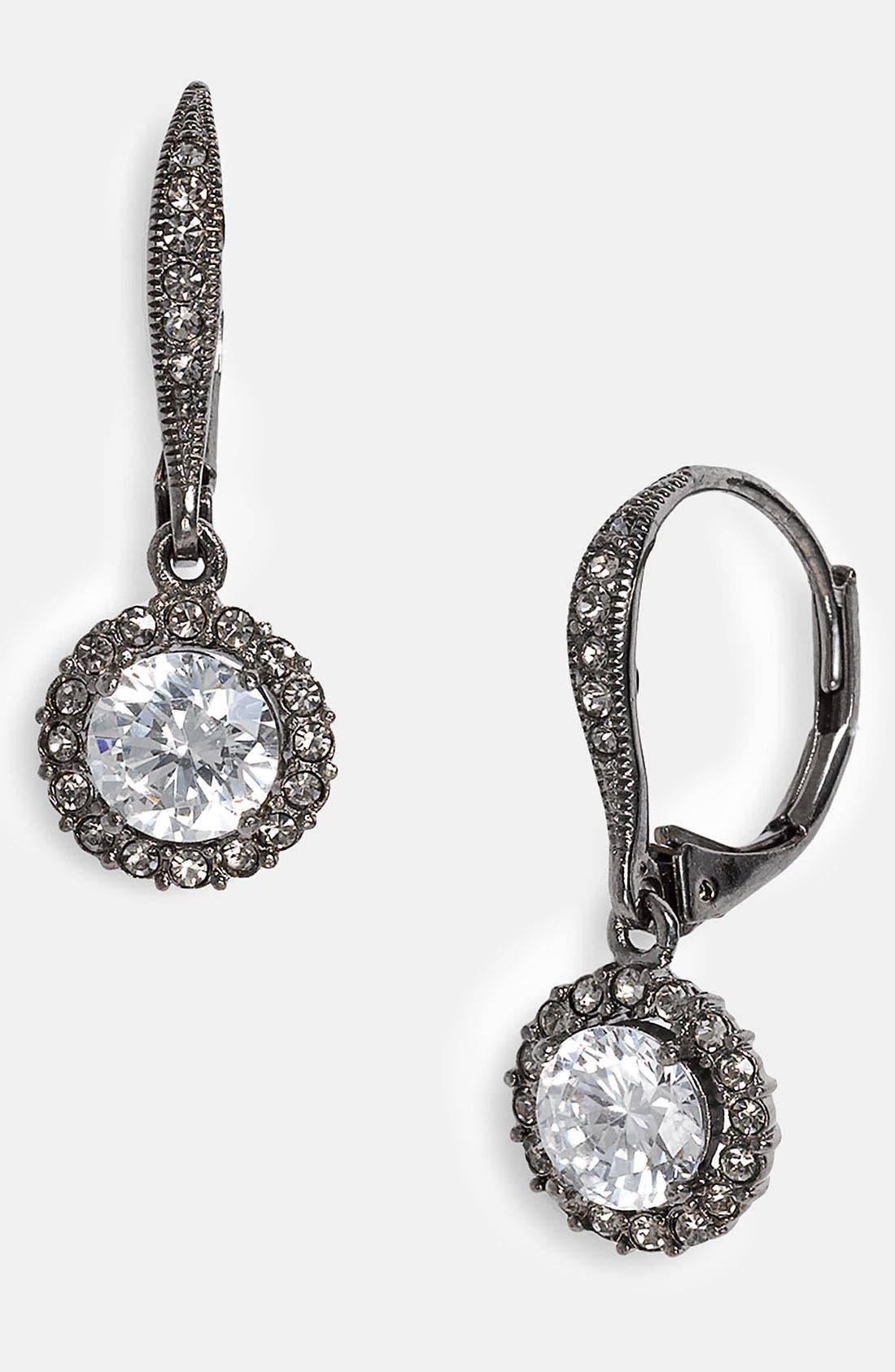 Cubic Zirconia Drop Earrings, Main, color, 001