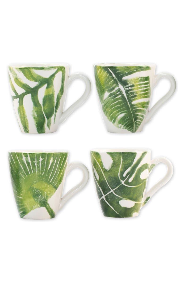 VIETRI Into the Jungle Set of 4 Mugs, Main, color, GREEN