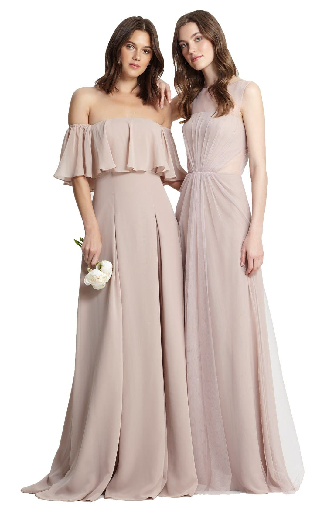 ,                             Off the Shoulder Chiffon Gown,                             Alternate thumbnail 13, color,                             685