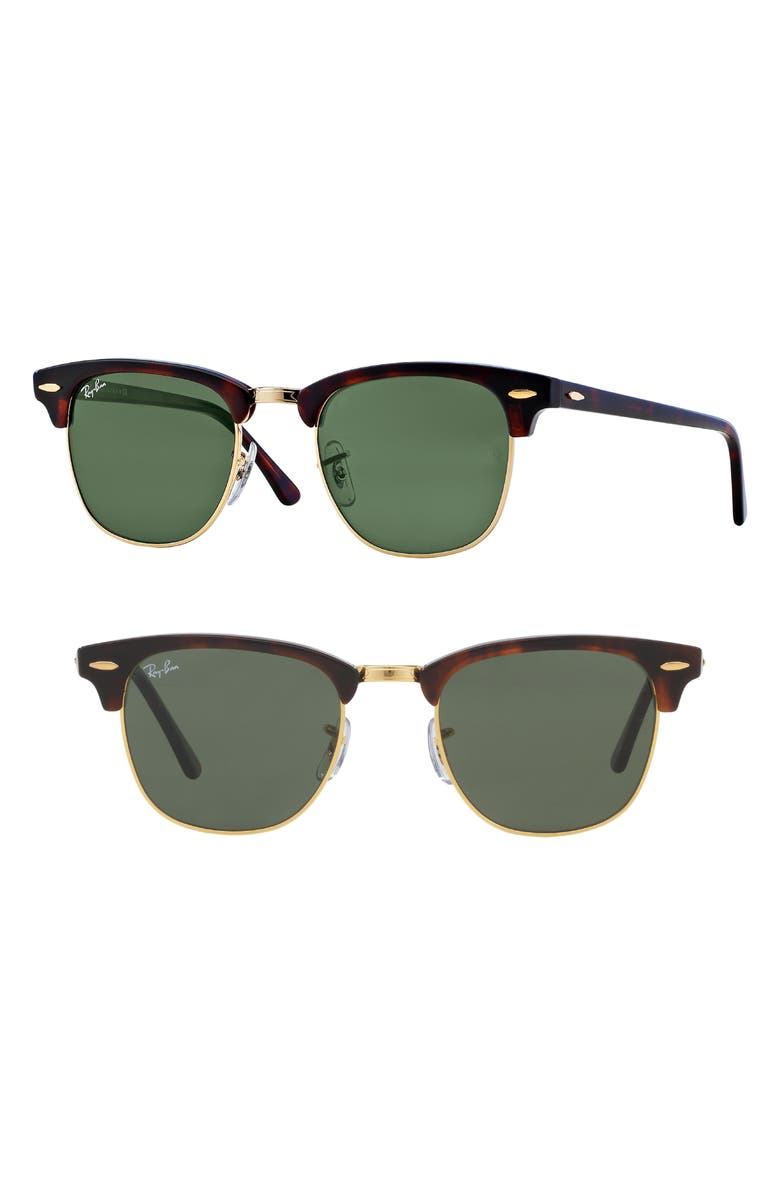 RAY-BAN Standard Clubmaster 51mm Sunglasses, Main, color, DARK TORTOISE