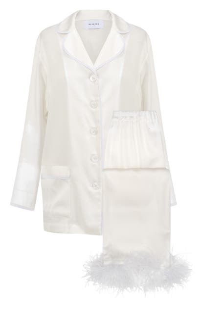 Sleeper Party Pajamas With Detachable Ostrich Feather Trim In White