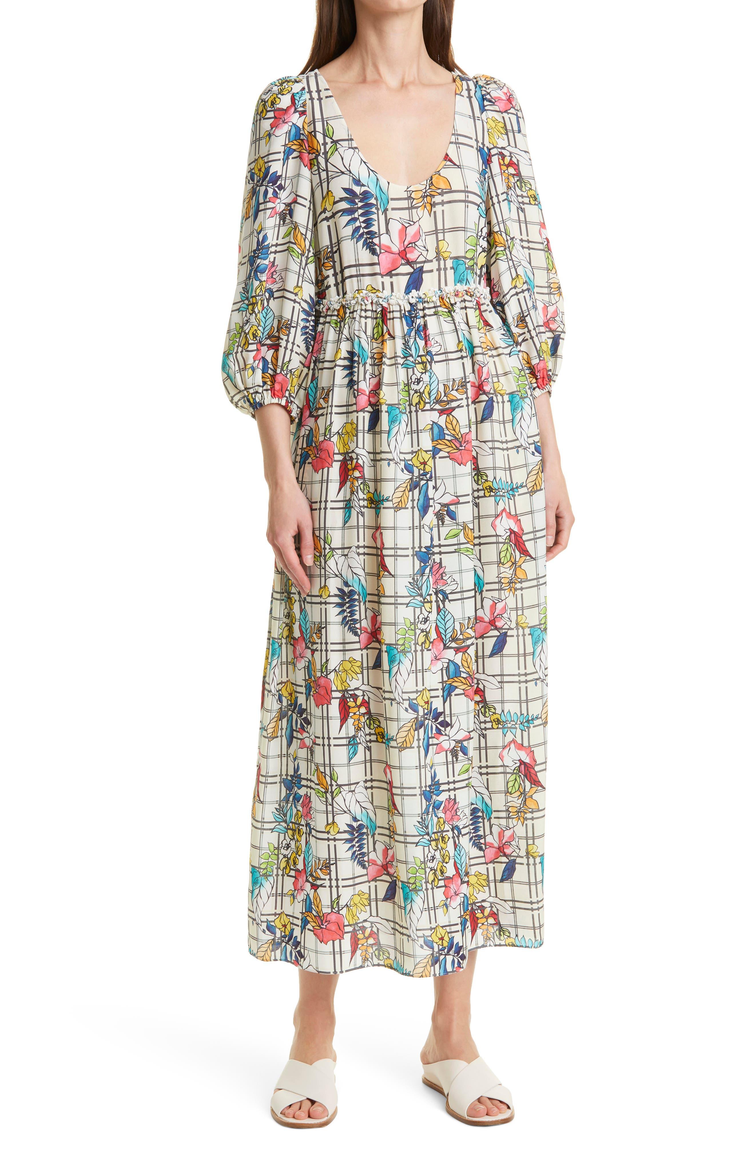 Floral Windowpane Balloon Sleeve Silk Blend Dress