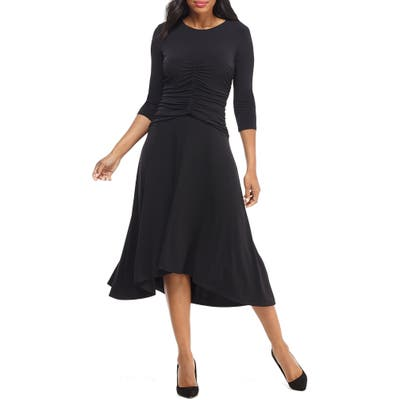 Maggy London Ruched Jersey Midi Dress, Black