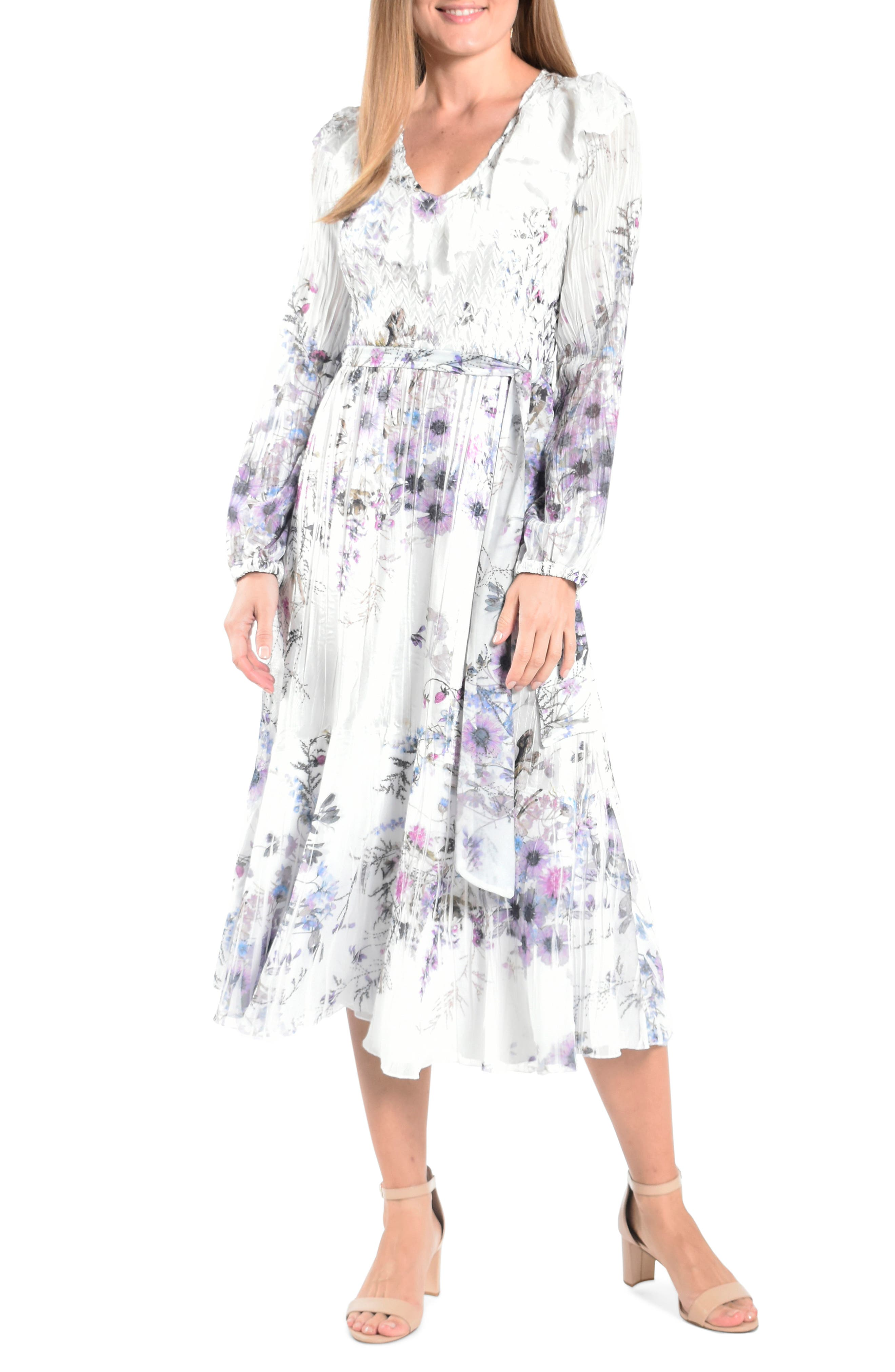 Floral Print Long Sleeve Midi Dress