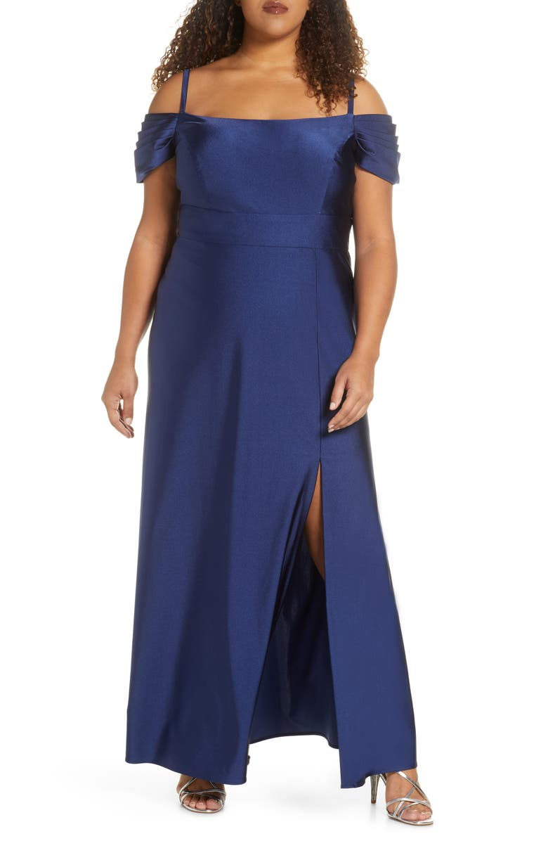 MORGAN & CO. Power Satin Evening Gown, Main, color, TWILIGHT