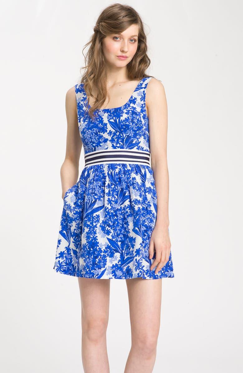 JUICY COUTURE 'Hyacinth' Print Silk Dress, Main, color, 400