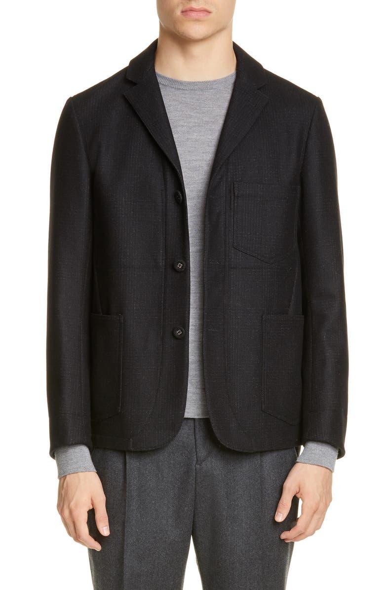 OFFICINE GÉNÉRALE Aris Glen Plaid Wool Blend Jacket, Main, color, GREY