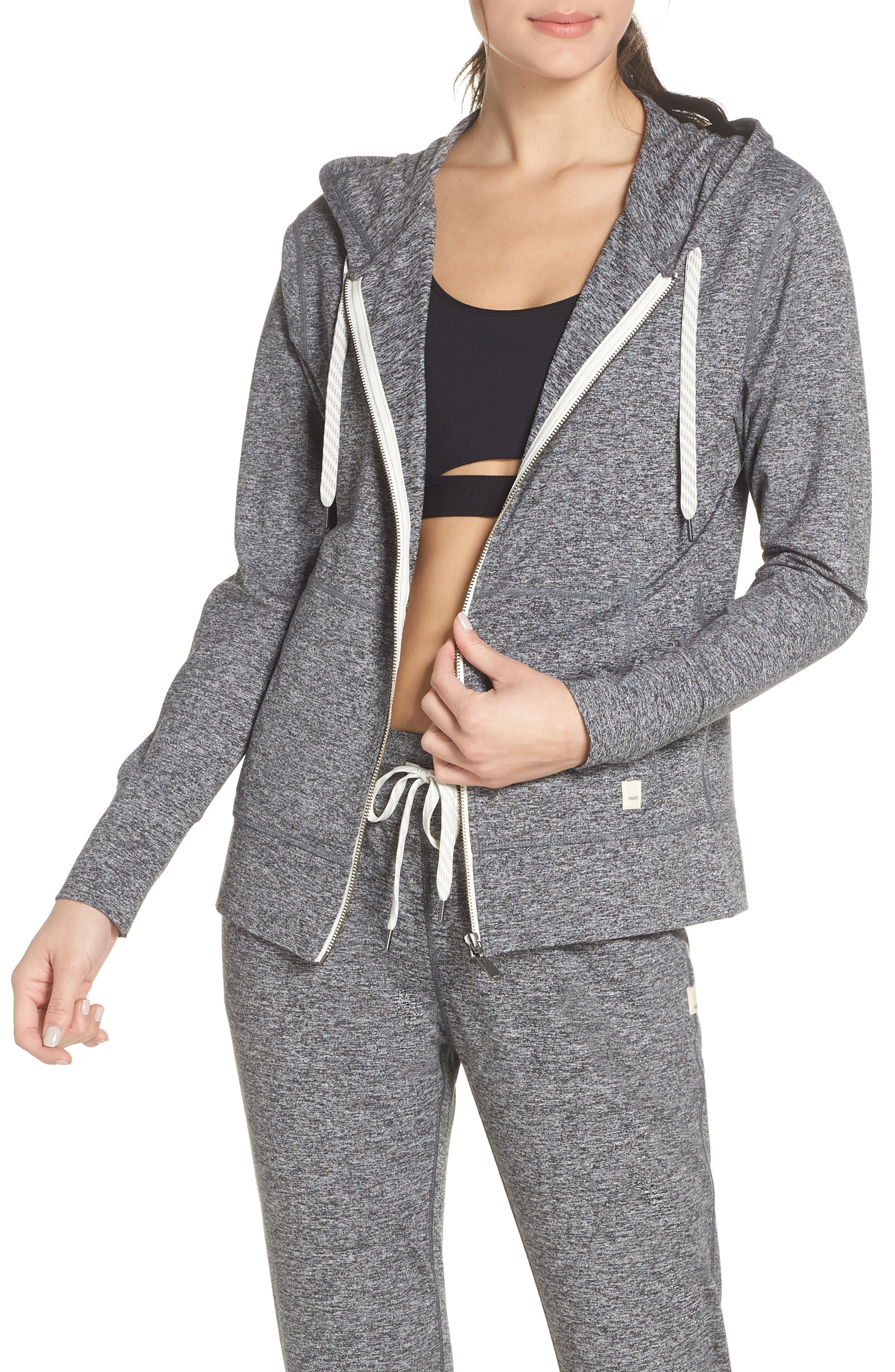Vuori Performance Zip Front Hoodie, Grey