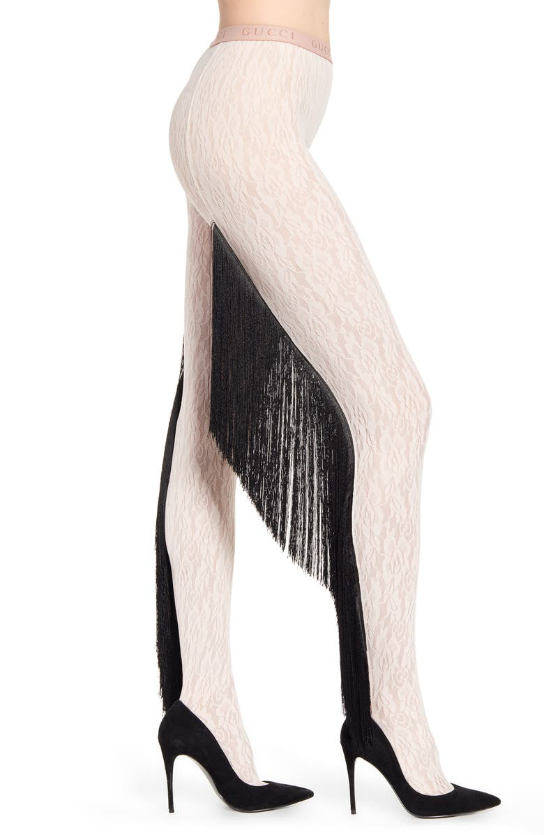 GUCCI Fringe Floral Lace Tights, Main, color, SHELL/ BLACK