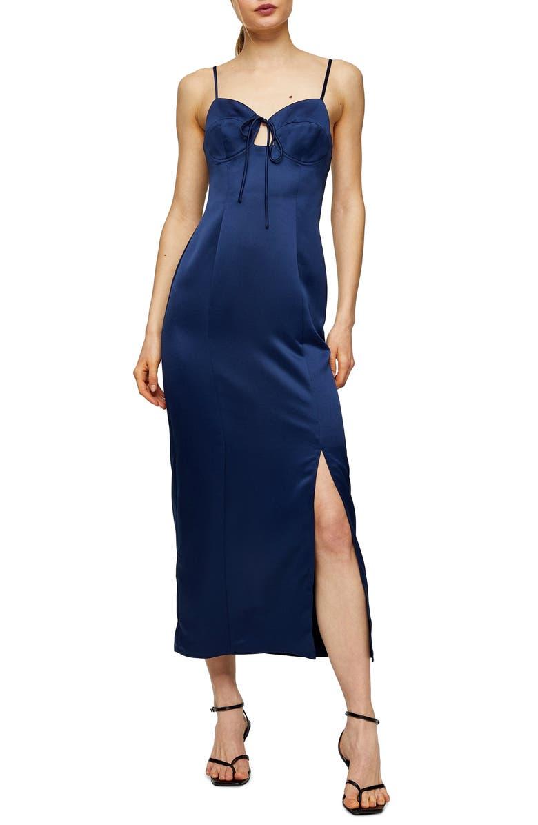 TOPSHOP Bustier Bodice Satin Midi Slipdress, Main, color, NAVY BLUE