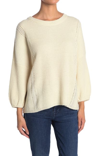 Image of 7 For All Mankind Rib Crew Neck Wool Blend Sweater