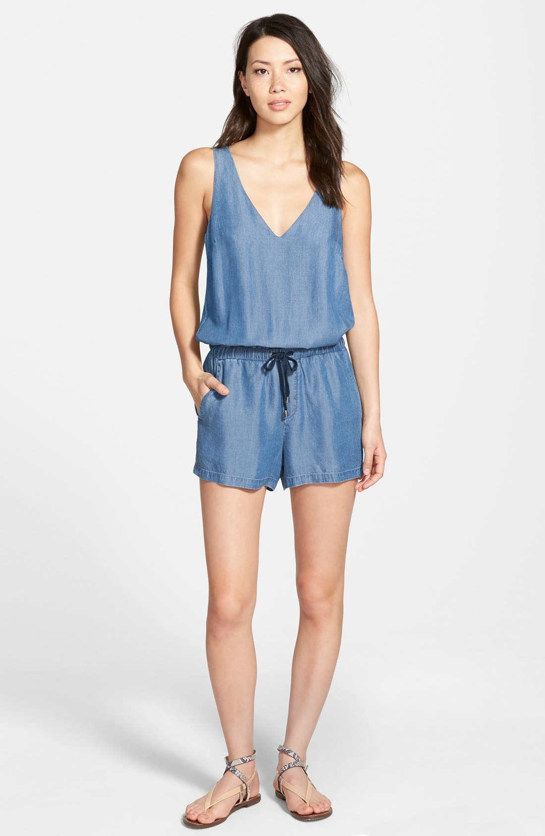 Chambray Romper, Main, color, 400