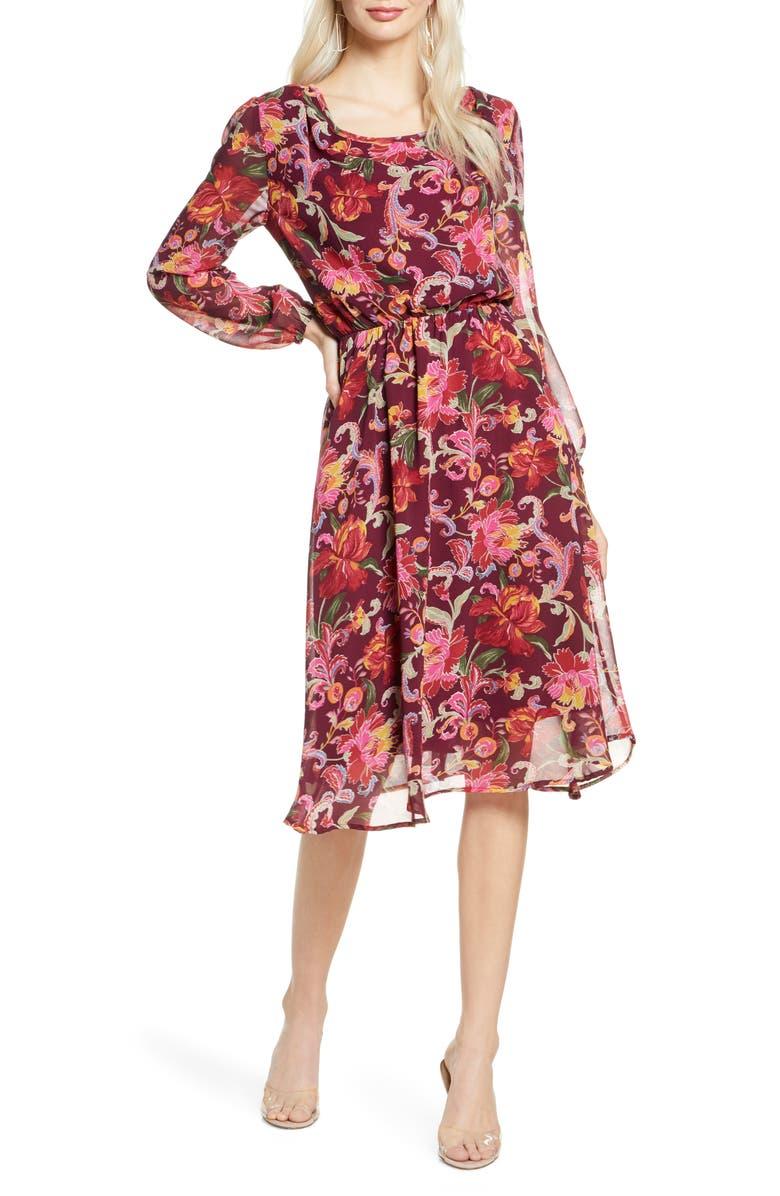 FRAICHE BY J Mela Long Sleeve Floral Dress, Main, color, MELA