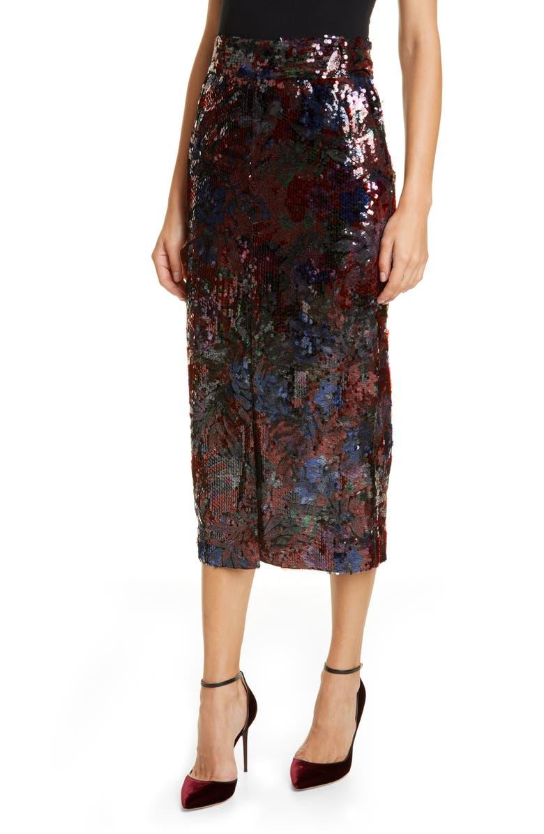 ROSEANNA Woodcut Sequin Midi Pencil Skirt, Main, color, MARINE