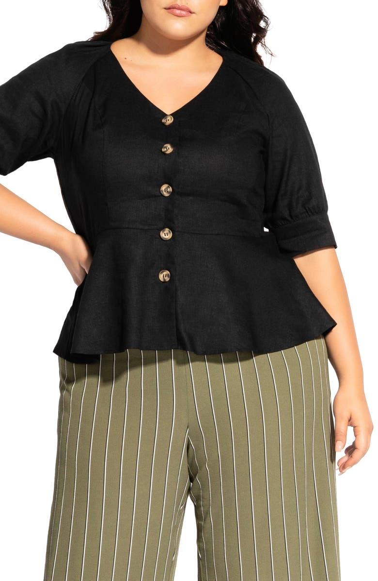 CITY CHIC Lola Button Front Linen Blend Peplum Top, Main, color, BLACK