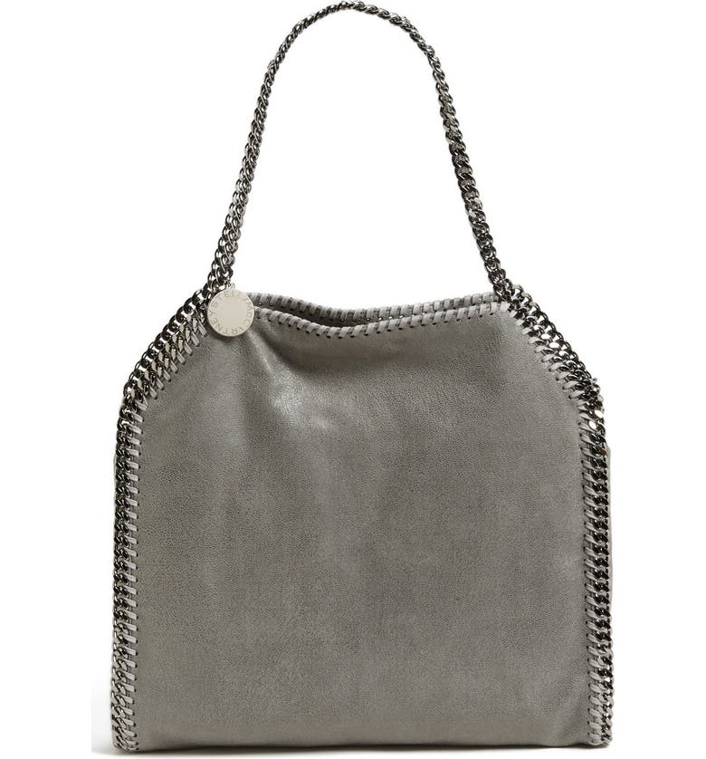 STELLA MCCARTNEY 'Small Falabella - Shaggy Deer' Faux Leather Tote, Main, color, LT.GREY