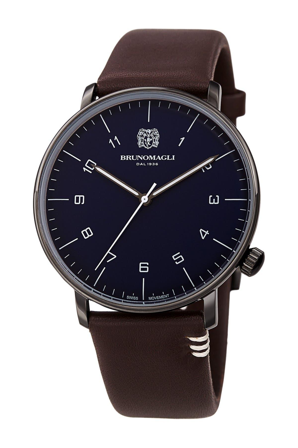 Image of Bruno Magli Men's Roma Moderna Leather Strap Watch, 43mm