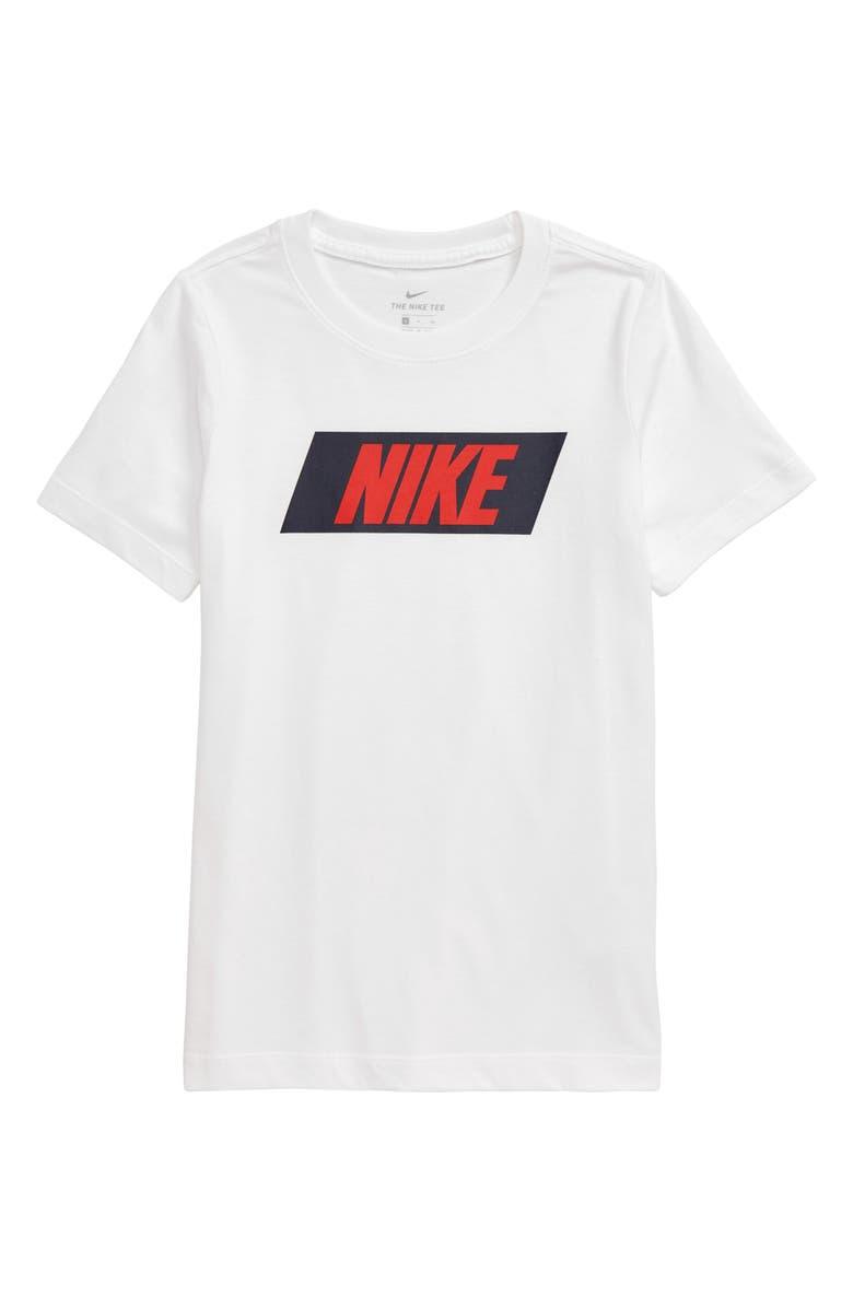 NIKE Core T-Shirt, Main, color, WHITE/ UNIVERSITY RED