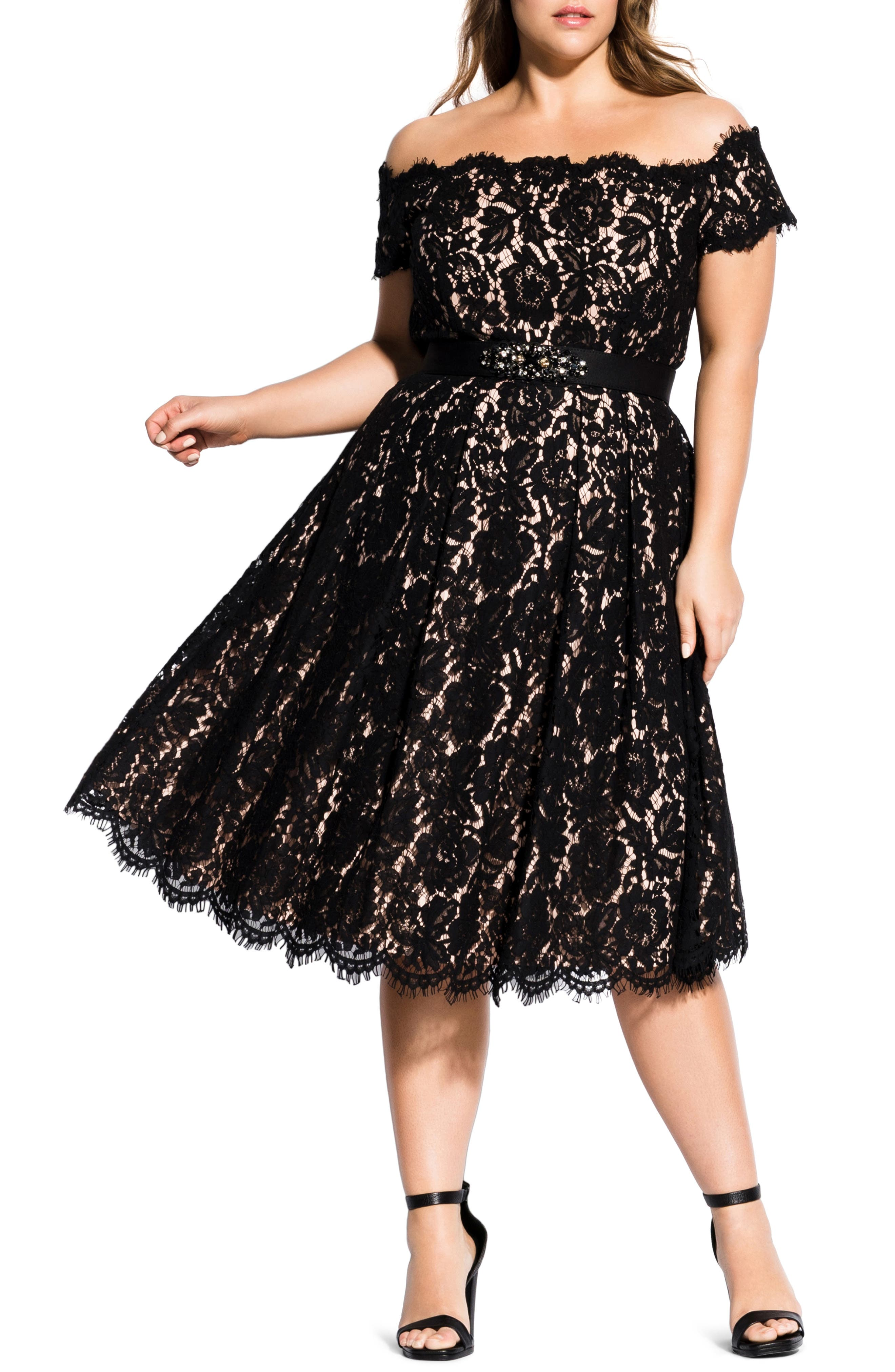 Vintage Evening Dresses and Formal Evening Gowns Plus Size Womens City Chic Off The Shoulder Lace Dreams Midi Dress $169.00 AT vintagedancer.com