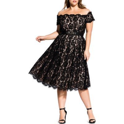 Plus Size City Chic Off The Shoulder Lace Dreams Dress, Black