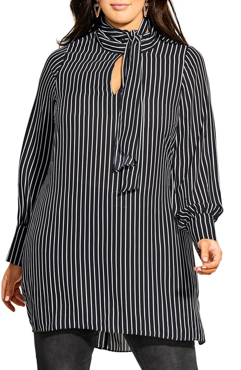 CITY CHIC Tie Neck Stripe Tunic, Main, color, WHITE STRIPE