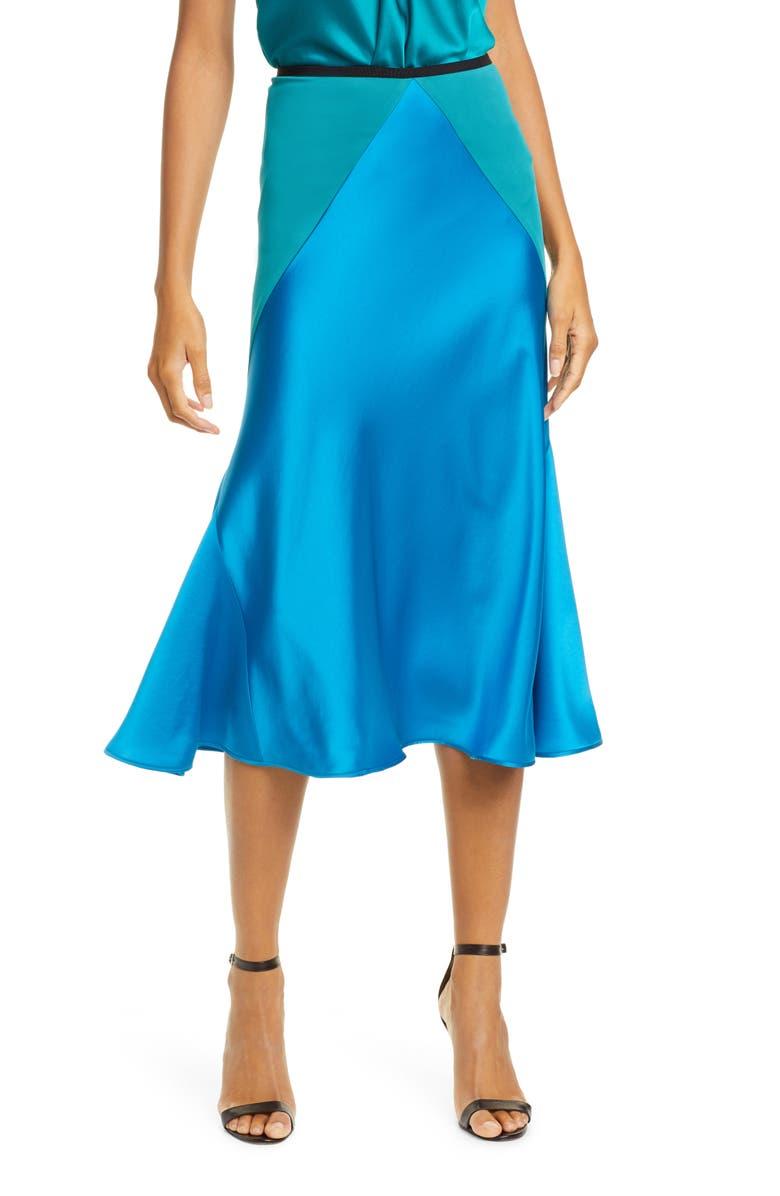 DVF Carole Colorblock Satin Midi Skirt, Main, color, NEW COAST MULTI