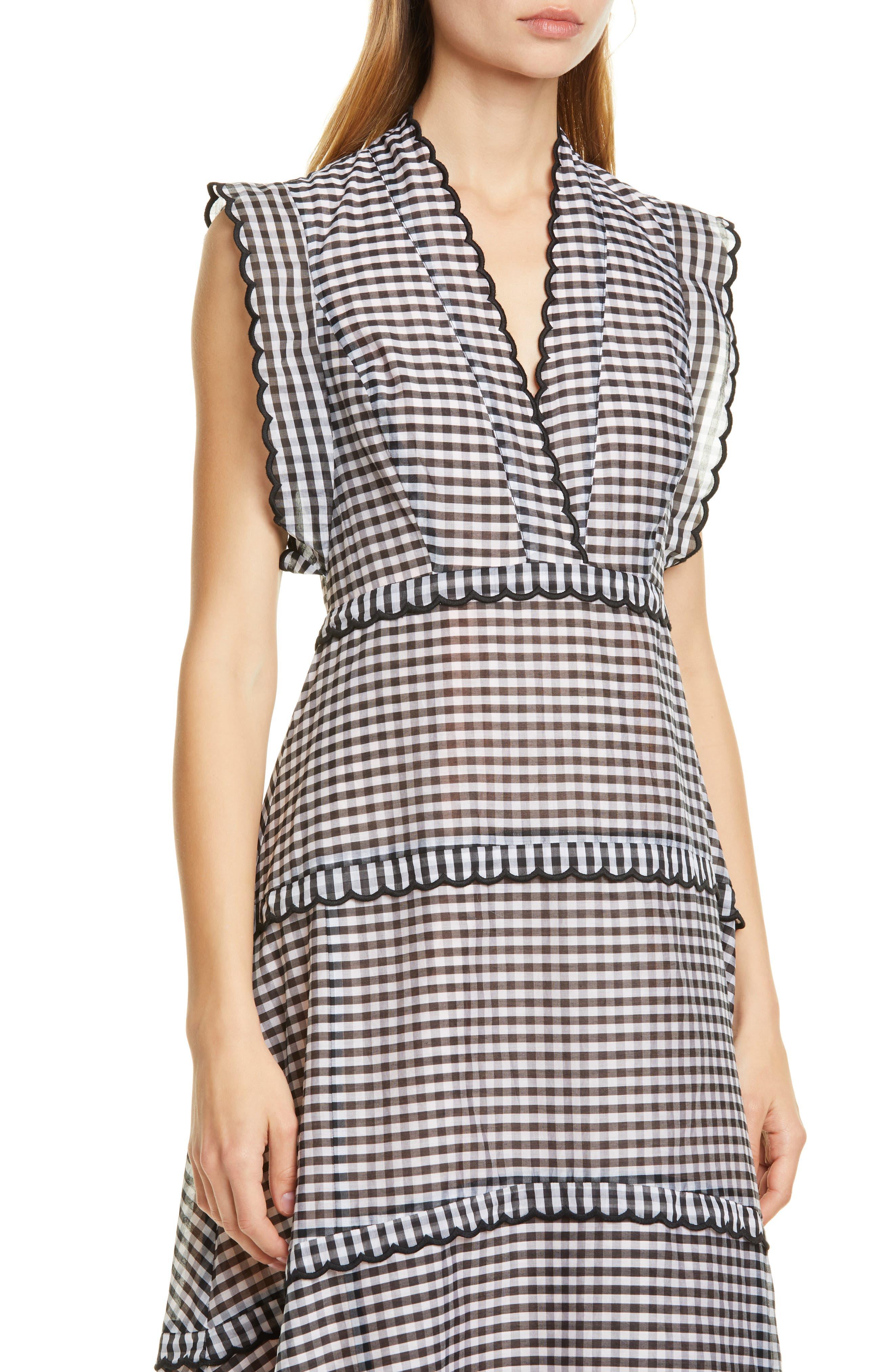 ,                             gingham midi dress,                             Alternate thumbnail 5, color,                             BLACK/ CREAM