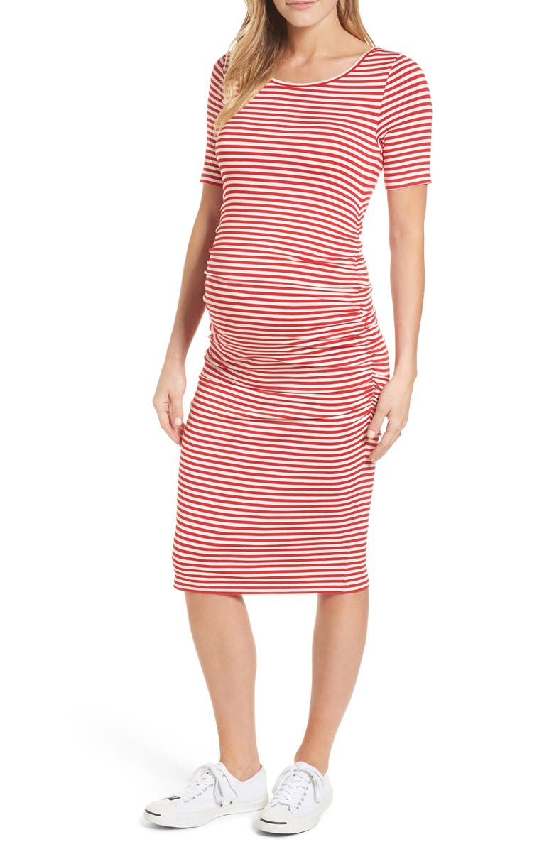ISABELLA OLIVER Jenna Stripe Maternity T-Shirt Dress, Main, color, RED/OFF WHITE STRIPE
