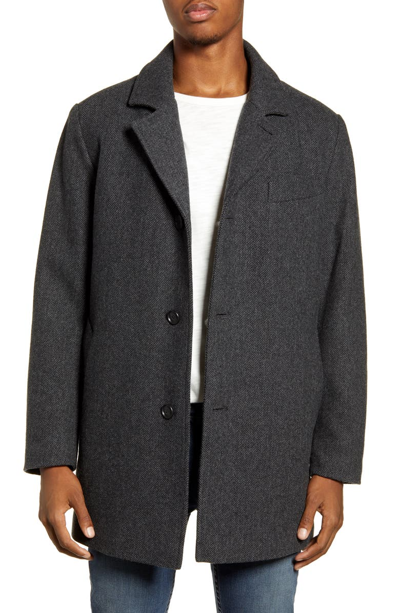 PENDLETON Iconic Manhattan Mélange Wool Blend Coat, Main, color, CHARCOAL HERRINGBONE