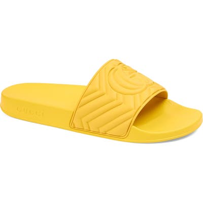 Gucci Matelasse Slide Sandal, Yellow