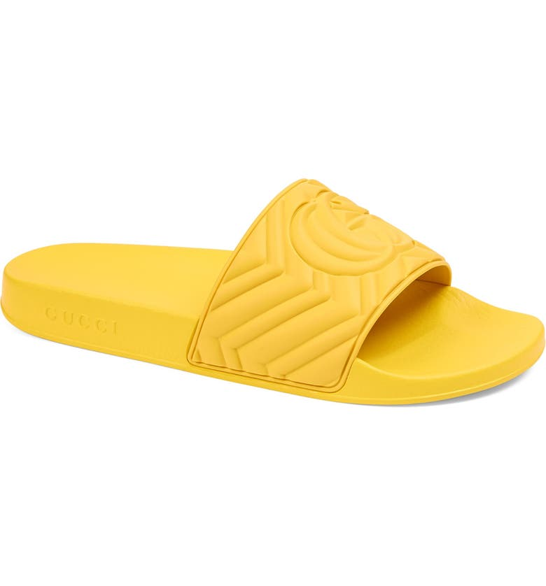 GUCCI Pursuit Matelassé Slide Sandal, Main, color, SMILE YELLOW