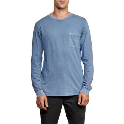 Rvca Pigment Dyed Long Sleeve Pocket T-Shirt, Blue