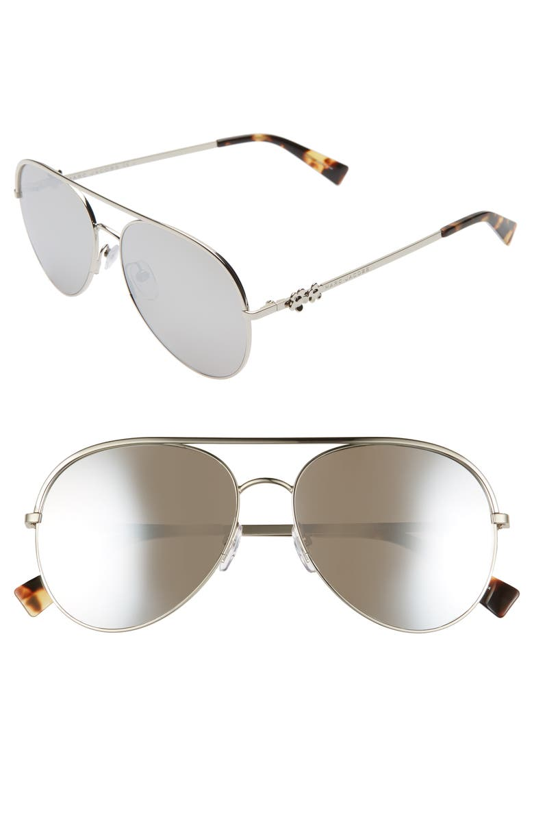 THE MARC JACOBS Daisy 58mm Mirrored Aviator Sunglasses, Main, color, 040