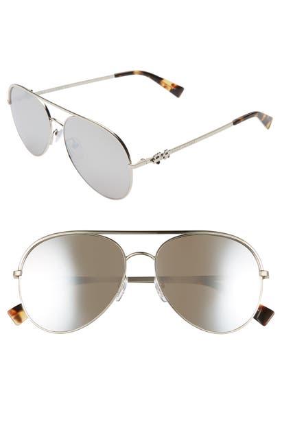 Marc Jacobs Sunglasses DAISY 58MM MIRRORED AVIATOR SUNGLASSES - PALLADIUM