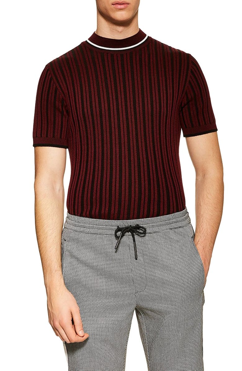 TOPMAN Short Sleeve Sweater, Main, color, BURGUNDY