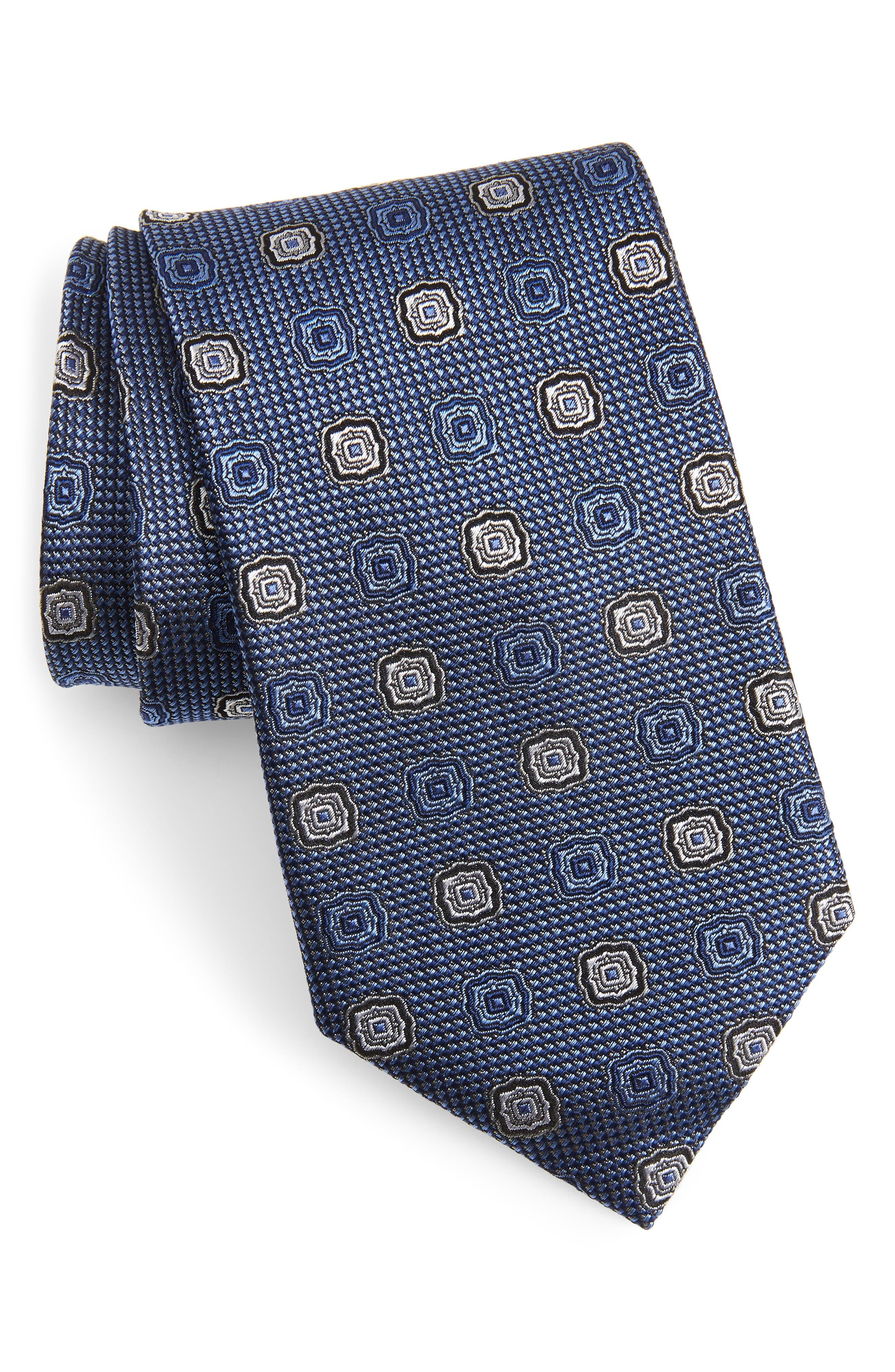 Medallion Silk X-Long Tie, Main, color, BLUE