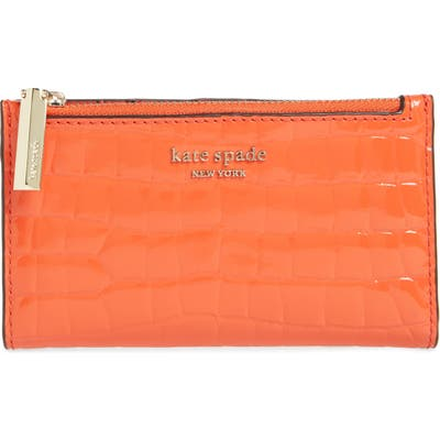 Kate Spade New York Sylvia Croc Embossed Leather Slim Bifold Wallet - Orange