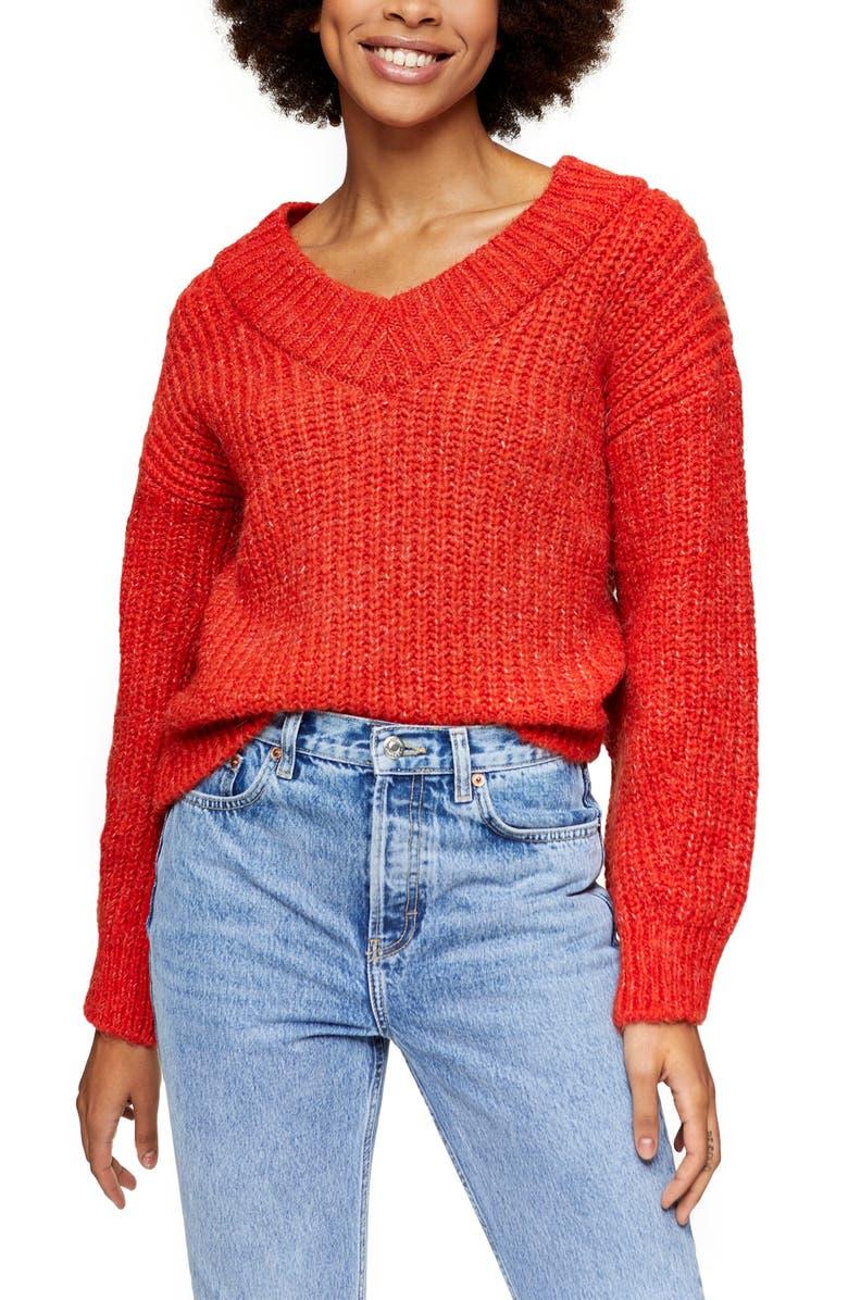 TOPSHOP V-Neck Sweater, Main, color, RED