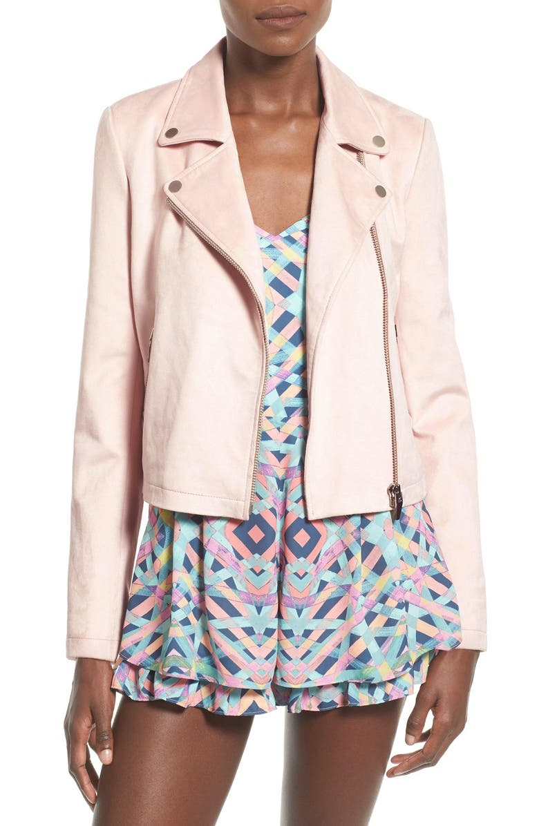 LOVERS + FRIENDS 'Charmer' Faux Suede Moto Jacket, Main, color, 650