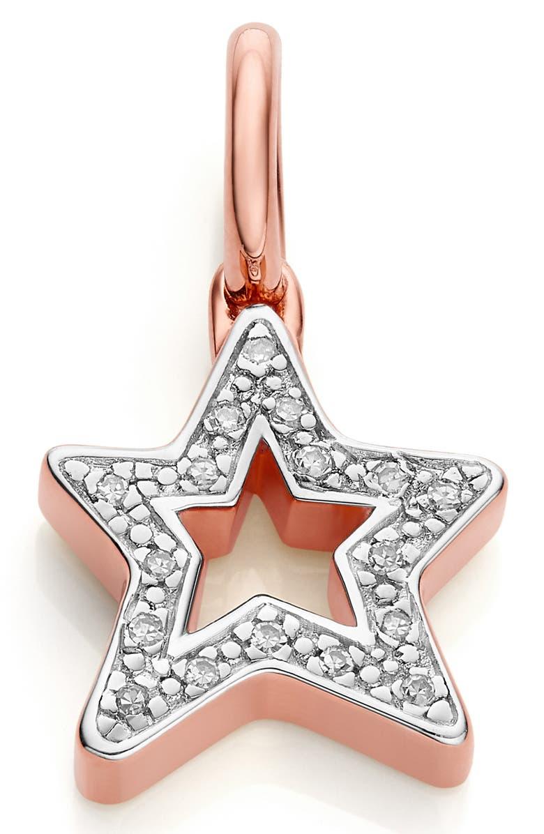 MONICA VINADER Alphabet Star Diamond Pendant Charm, Main, color, ROSE GOLD