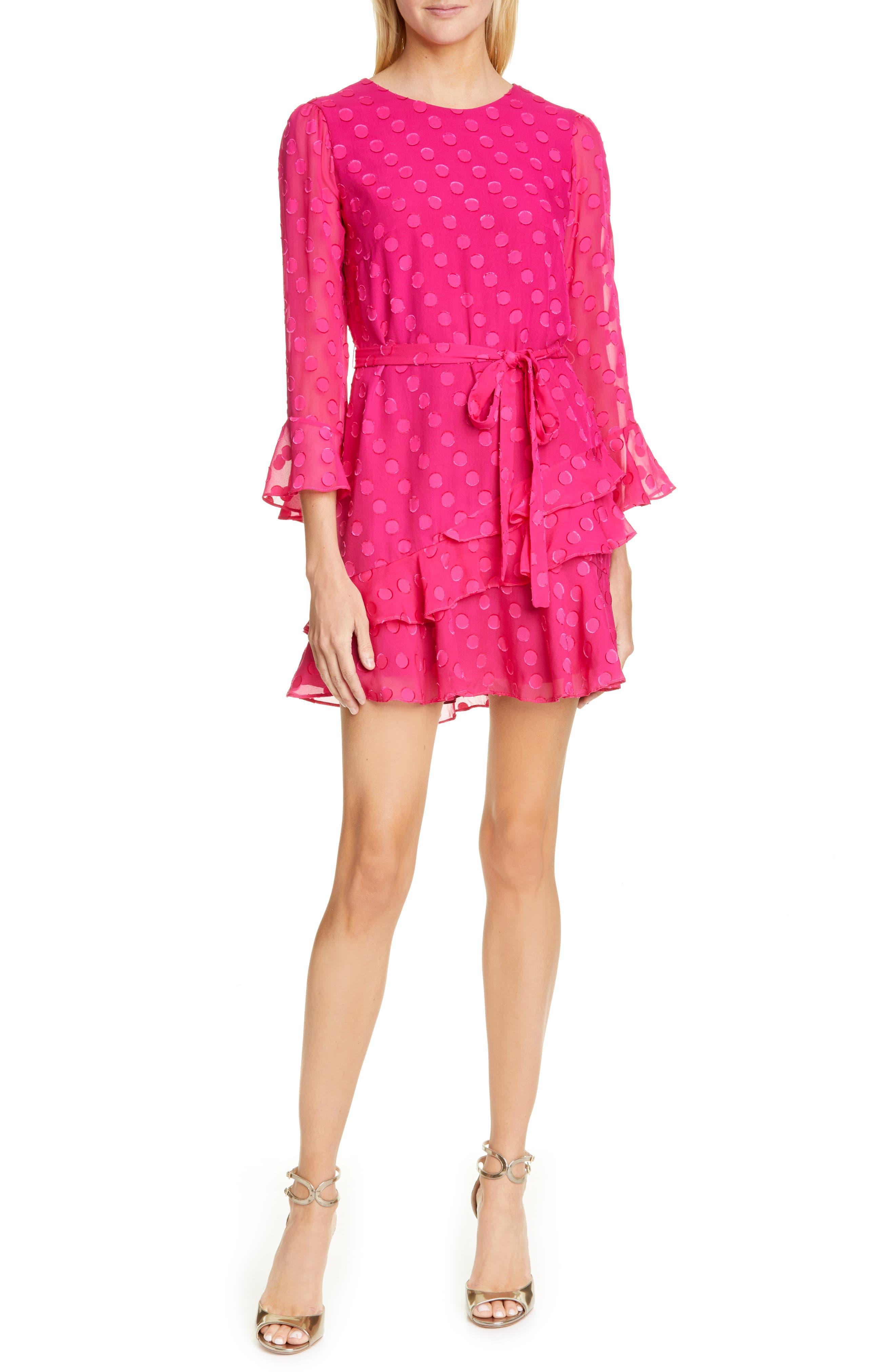 Saloni Marissa Fil Coupe Silk Blend Minidress, Pink