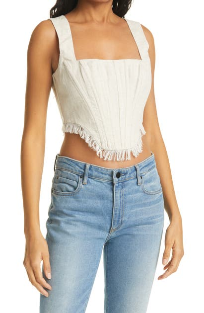 Staud TRITON SLEEVELESS FRINGE HEM LINEN TOP