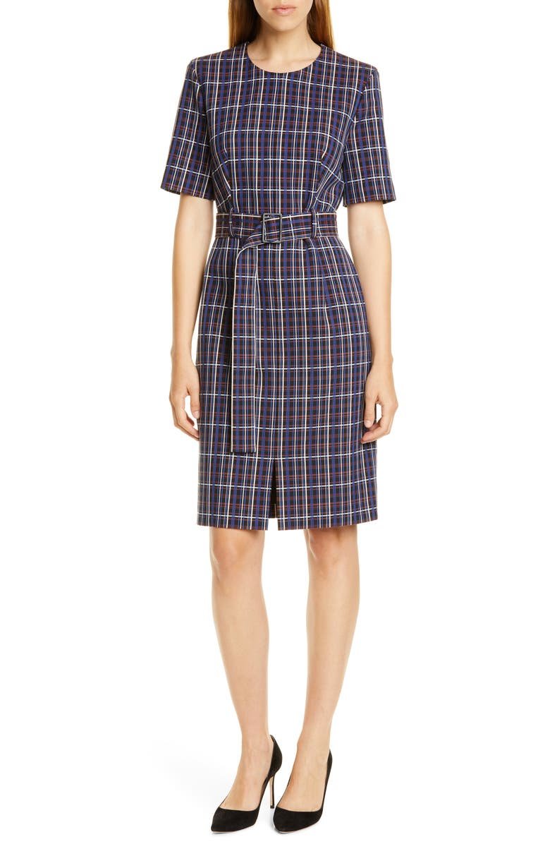 Ditania Check Ponte Knit Belted Dress, Main, color, KLIEN BLUE FANTASY
