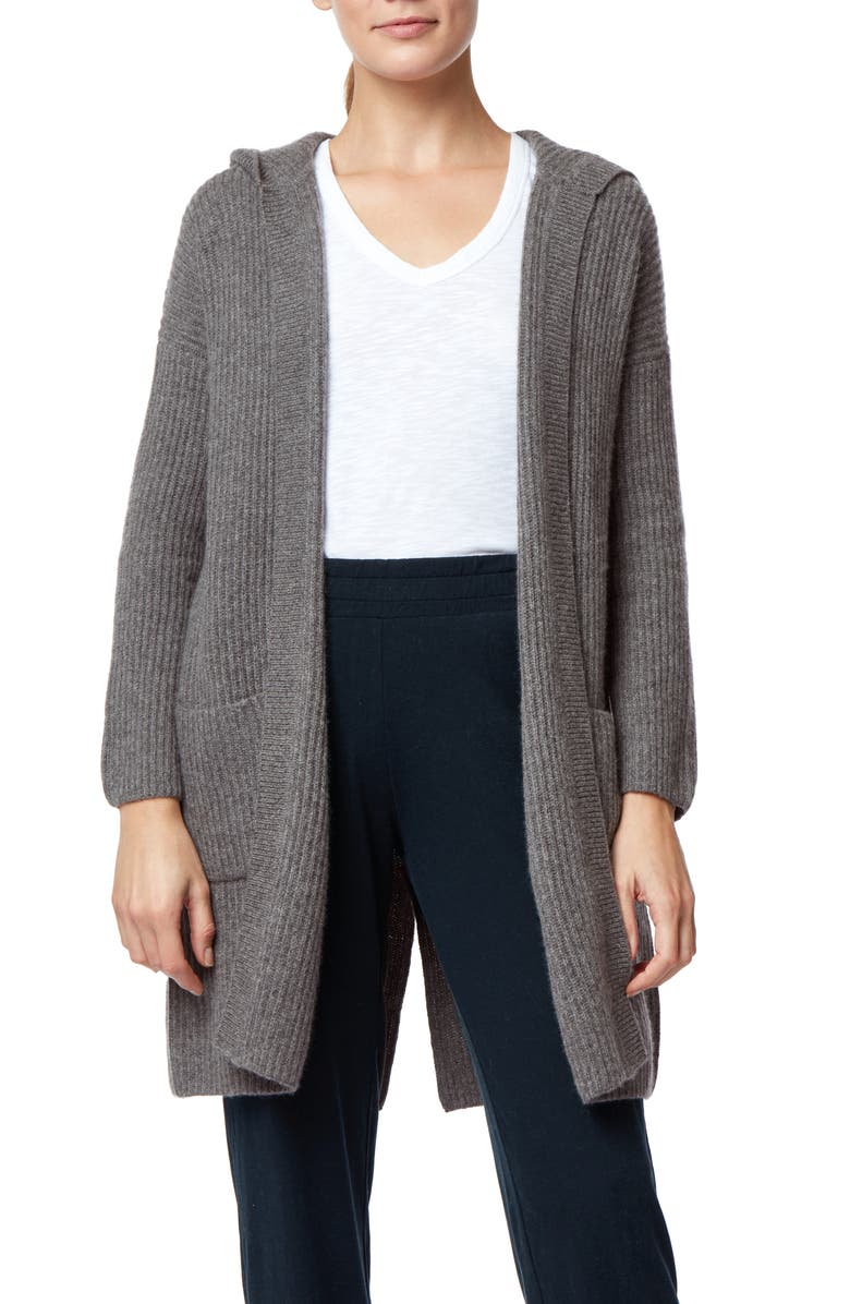 THE WHITE COMPANY Brushed Cashmere Hooded Ribbed Open Cardigan, Main, color, GREY MARL