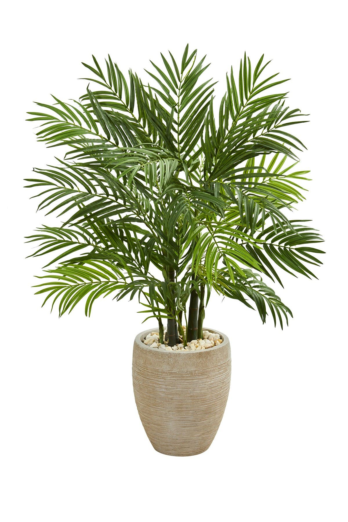 Image of NEARLY NATURAL 4ft. Areca Palm Artificial Tree in Sand Colored Planter
