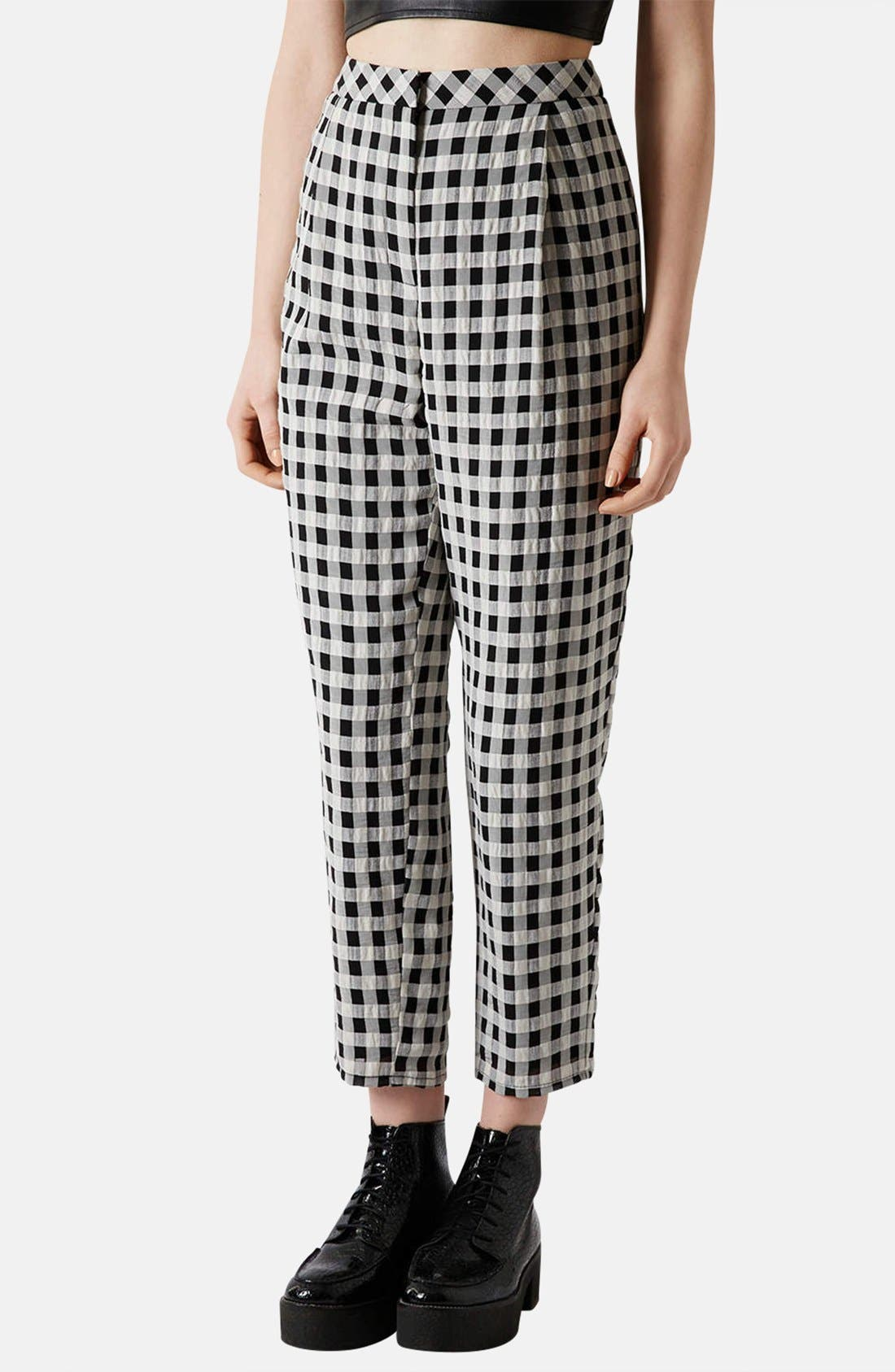 Textured Gingham Peg Leg Pants, Main, color, 002