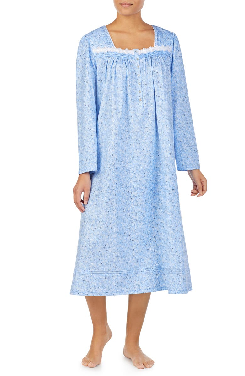 EILEEN WEST Long Sleeve Nightgown, Main, color, BLUE GROUND SCROLL